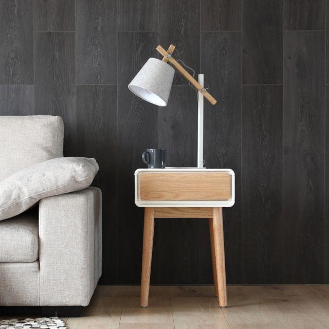 CONCEPT USINE Lovisa blanc : bout de canapé scandinave, table de chevet, table d'appoint