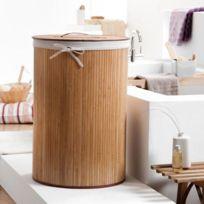 La Boutique Du Rangement - Panier a linge rond en bambou naturel - marron