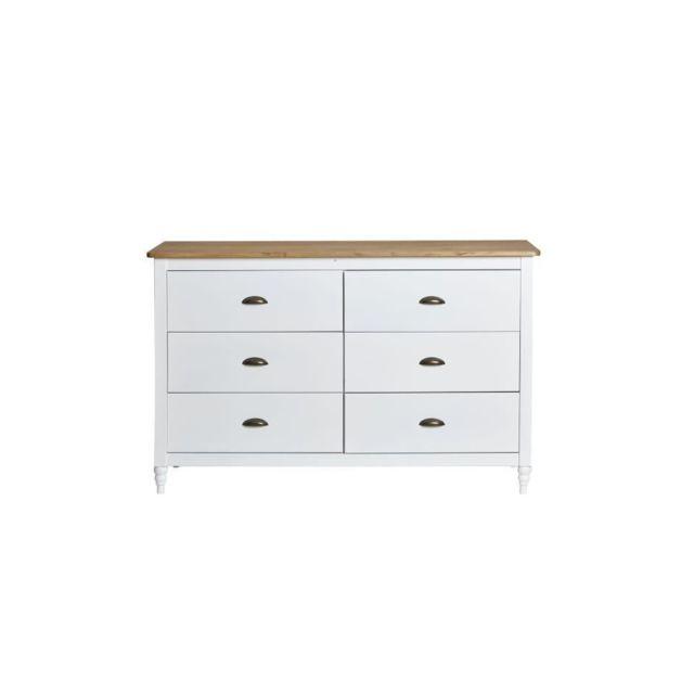 LAVANDE Commode 6 tiroirs - Décor blanc ciré - L 130 x P 45 x H 83 cm