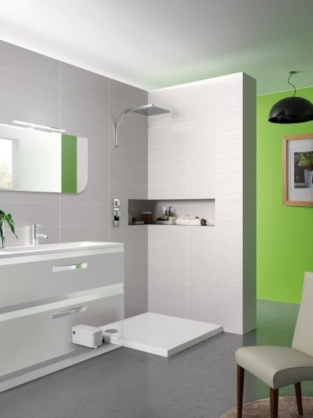kinedo receveur douche avec pompe de relevage externe. Black Bedroom Furniture Sets. Home Design Ideas