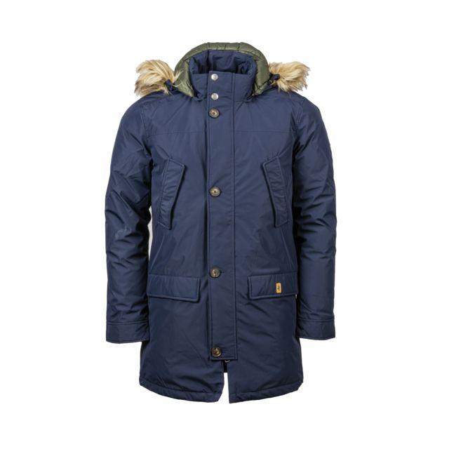 Mcs Manteau long bleu marine et fausse fourrure à la capuche