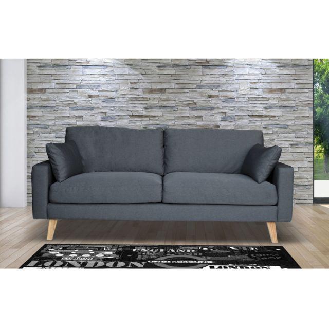 AUTRES Canapé 3 places fixe en tissu, pieds bois - coloris gris anthracite