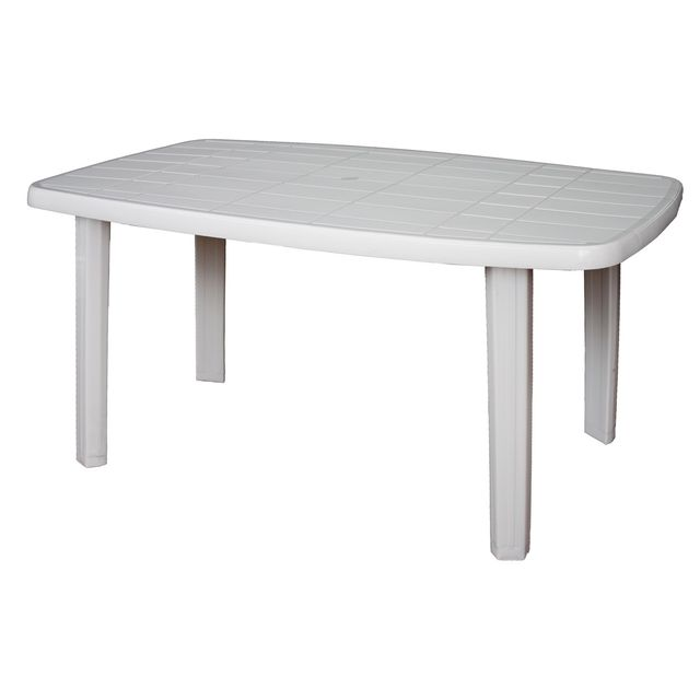 ARETA Table de jardin Sorrento - Blanc - 140 x 80 x 72 cm