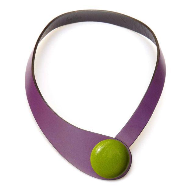Ceraselle Collier cuir violet et céramique vert