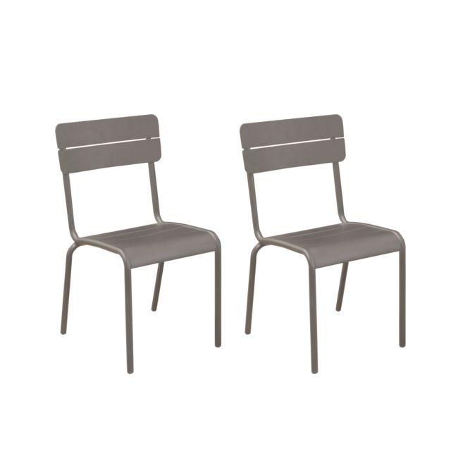 Rendez vous deco chaise de jardin casilda taupe lot de 2 noir