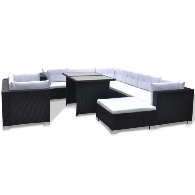 Casasmart Salon de jardin Xl polyrotin noir comfort