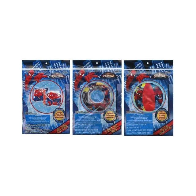 Spider-man Spiderman 20 Beach Ball + Swim Ring + Arm Floats 3 pc set
