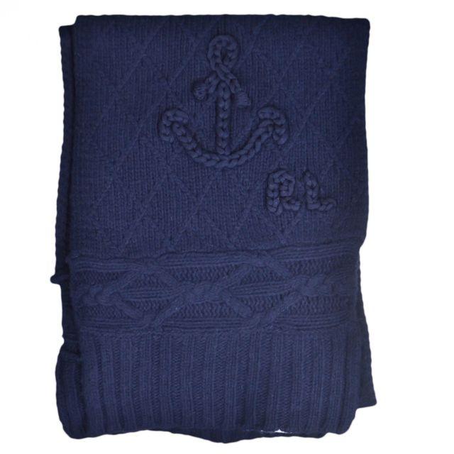profiter de prix discount réduction jusqu'à 60% où puis je acheter Echarpe tricotée bleu marine en laine pour femme