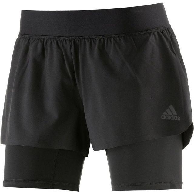 Adidas - Short de sport femme 2 en 1 - pas cher Achat   Vente Shorts ... 837ba9ef4c2