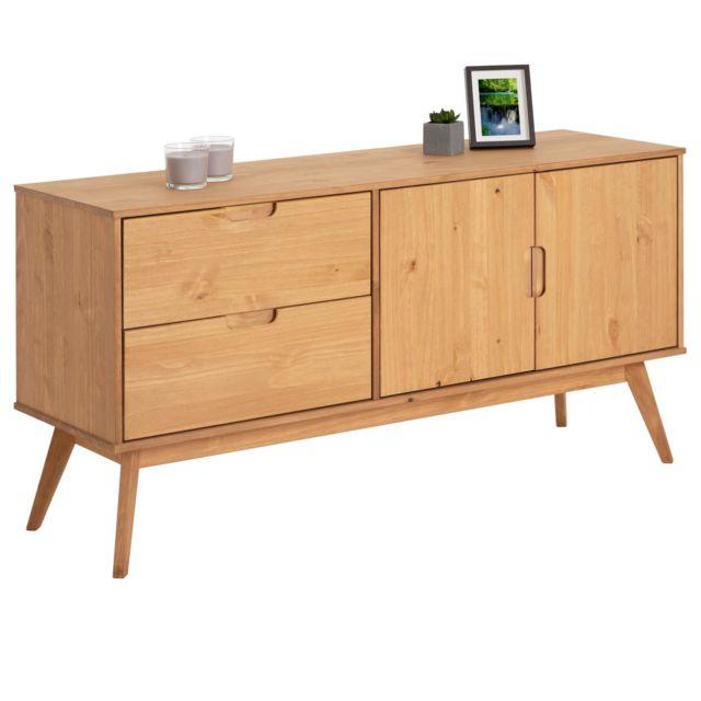 IDIMEX Buffet TIVOLI design vintage scandinave nordique commode bahut vaisselier 2 tiroirs 2 portes, pin massif finition bois t