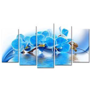 hexoa flower tableau multi panneaux 150x80 cm bleu fleur pas cher achat vente tableaux. Black Bedroom Furniture Sets. Home Design Ideas