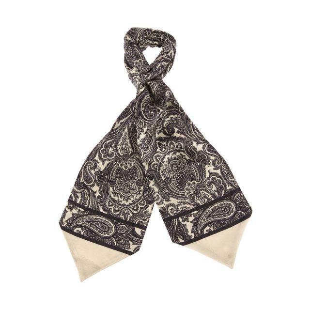 2c24331781bd Touche Finale - Foulard Ascot à nouer en soie crème à motifs noirs - pas  cher Achat   Vente Echarpes, foulards - RueDuCommerce