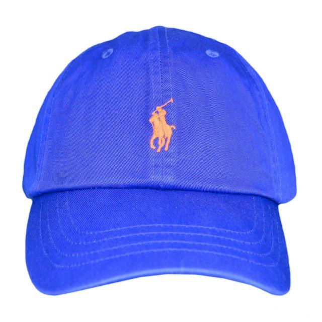 f44e9c11496 Ralph Lauren - Casquette Ralph Lauren bleu royal logo orange pour homme.  Couleur   Bleu. Taille   Taille unique