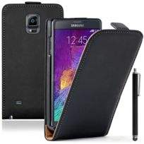 Vcomp - Housse Coque Etui Cuir Pu Vrai pour Samsung Galaxy Note 4 Sm-n910F/ Note 4 Duos Dual Sim, N9100/ Note 4 CDMA, / N910C N910W8 N910V N910A N910T N910M + stylet - Noir