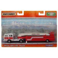 Matchbox - Camion Pompier Grande Echelle - Camion Rouge Mega Ton Fire Truck 22Cm - Mattel