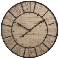 AUBRY GASPARD - Horloge murale en Métal et Bois Industrie 91x6cm