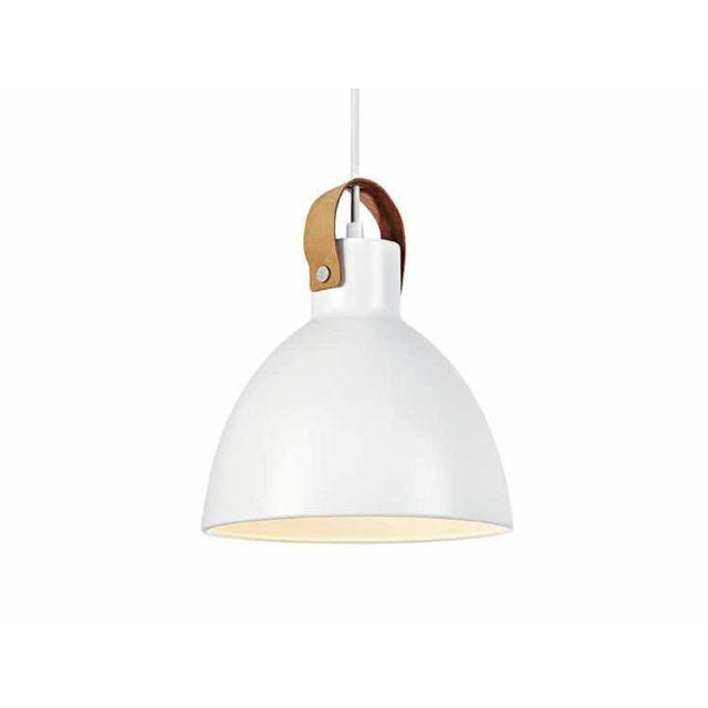 Mark Slojd - Suspension dôme en métal blanc et finition cuir diamètre 22cm Eagle