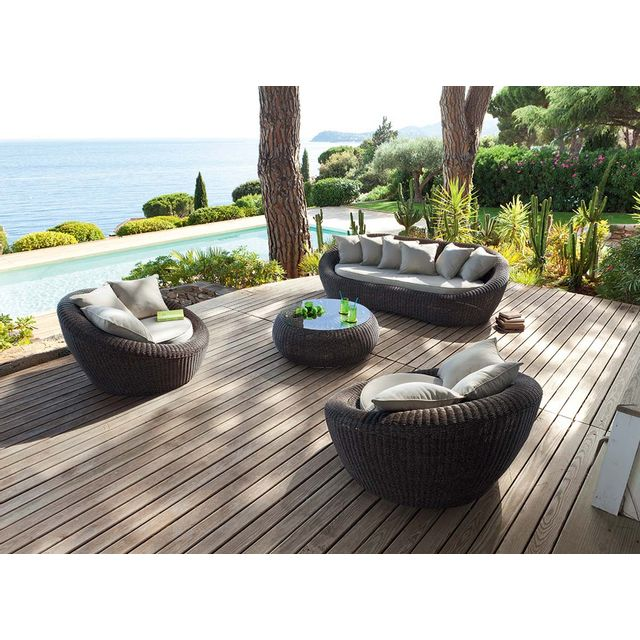 Hespéride - Salon de jardin résine tressée Java Wood - pas ...