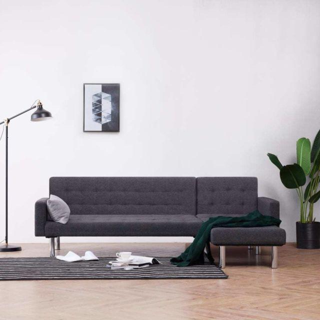 Vidaxl Canapé-lit en forme de L Gris foncé Polyester
