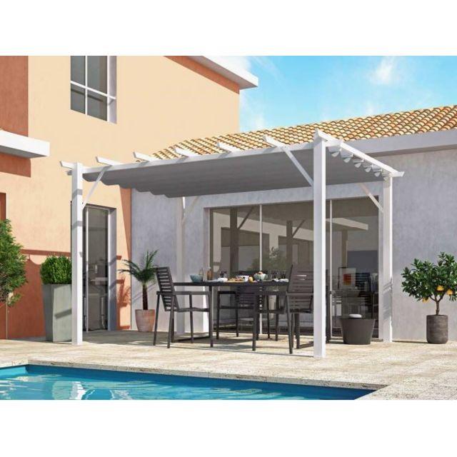Habrita - Pergola en aluminium blanc 100x100 mm ép.1,2 mm toiture gris 12  m2 - Per4030WG