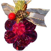 atmosphera fleur de nol en acrylique 12 perles framboise - Chaussette De Noel Disney
