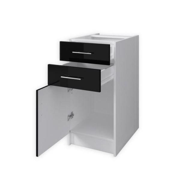 Generic E Meuble de Rangement 2 Portes 2 tiroirs Haute Brillance