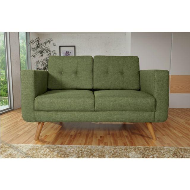 Rocambolesk Canapé Hedvig 2 savana vert 08 pieds naturels sofa divan