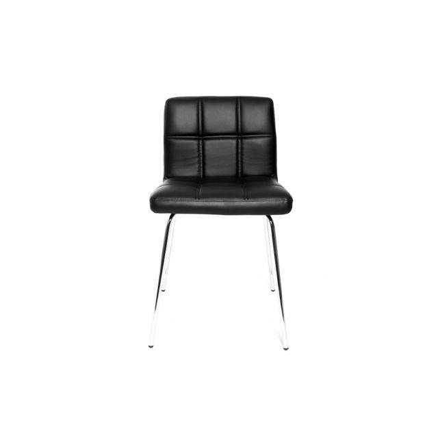 Miliboo Chaise design noire molletonnée Polly pas cher