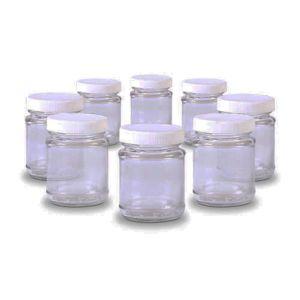 home equipement 8 pots de yaourt en verre avec couvercle visser 80155 pas cher achat. Black Bedroom Furniture Sets. Home Design Ideas