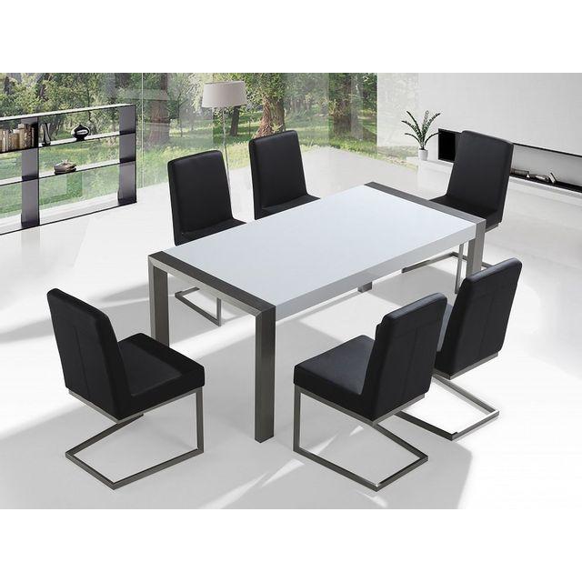 Beliani Table en acier inox 180 cm et 6 chaises - Arctic I