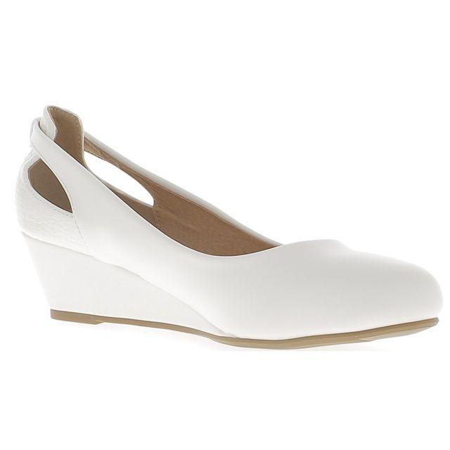 5f03a4029f1476 Chaussmoi - Chaussures compensées grande taille femme blanches à talon de  5,5cm aspect cuir