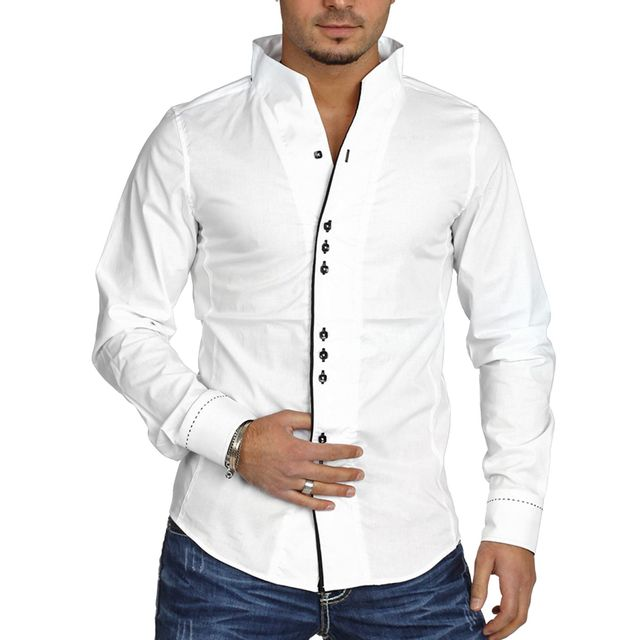 cfd515c6e799 Carisma - Chemise casual homme col mao blanche - pas cher Achat   Vente  Chemise homme - RueDuCommerce