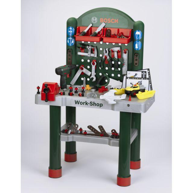 KLEIN Bosch Etabli Bosch Work-Shop avec visseuse et véhicule à construire