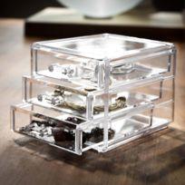 Compactor Home - Boite à bijoux acrylique transparent avec tiroirs Organizer