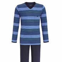 Ringella - Pyjama long en coton : tee-shirt manches longues col V à rayures bleues, pantalon bleu marine