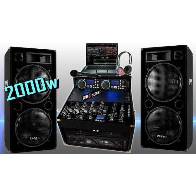 Ibiza Sound Sono complète 2000w avec enceintes sono ampli double lecteur cd mixage micro dj casque - la totale pa dj