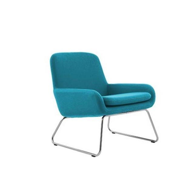 Inside 75 Fauteuil design Coco en microfibre bleu azur Softline
