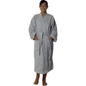homemaison peignoir col kimono en coton couleur gris perle taille s pas cher achat vente. Black Bedroom Furniture Sets. Home Design Ideas