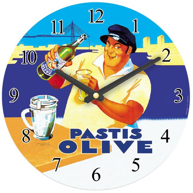 Editions Cle Pendule Pastis Olive
