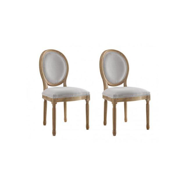 825b45d9452534 MARQUE GENERIQUE - Lot de 2 chaises LOUIS XVI - Velours - Coloris gris pâle