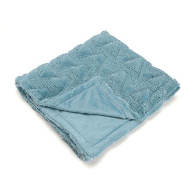 Amadeus Plaid enfant 100% polyester motif chevron effet fausse fourrure bleu canard 75x100cm Douceur