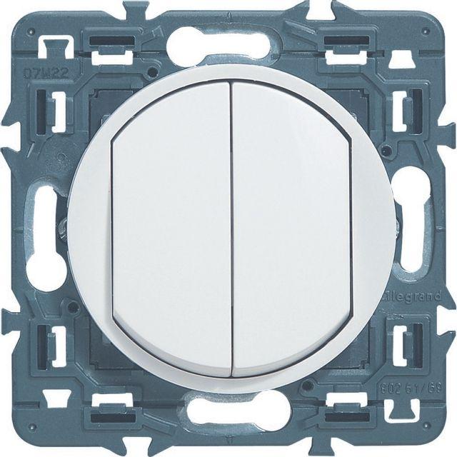 Interrupteur avec double poussoir rond blanc