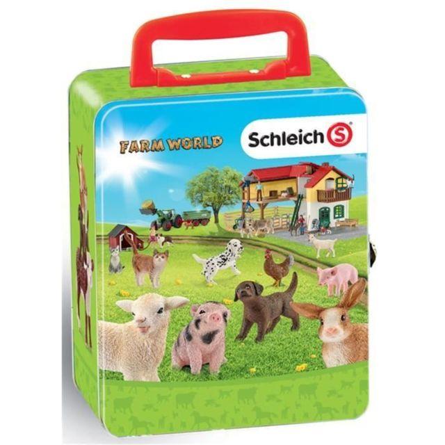 Icaverne FIGURINE MINIATURE - PERSONNAGE MINIATURE Schleich Farm World - Mallette pour collection 18 animaux ferme