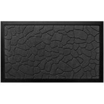 Promobo - Paillasson Noir Tapis Entrée Luxe Antidérapant Caoutchouc Relief Galet 45 x 75cm