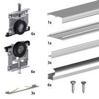 Slid'UP By Mantion - Kit Slid'UP 210 aluminium anodisé naturel pour 3 portes de placard coulissantes 16 mm - rail 2,7 m - 70 kg