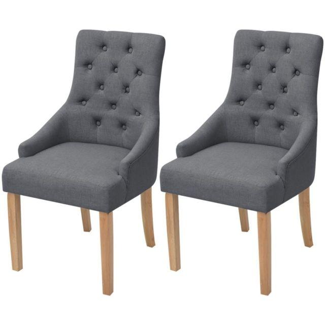 Chaises de salle à manger 2 pcs Bois de chêne Tissu Gris foncé | Gris