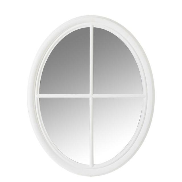 Tousmesmeubles Miroir ovale Bois blanc - Symetra