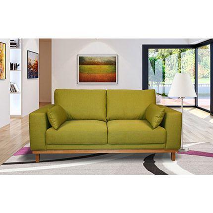 Canapé 2 places fixes pieds bois massif en tissu pistache - Marie