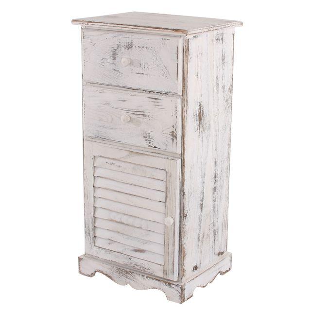 Mendler Commode / armoire, 2 tiroirs, 1 porte, 40x32x80cm, shabby, vintage, blanc
