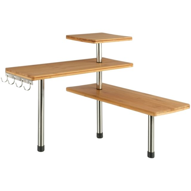 Promobo Etagere De Rangement D Angle 3 Niveaux Bambou